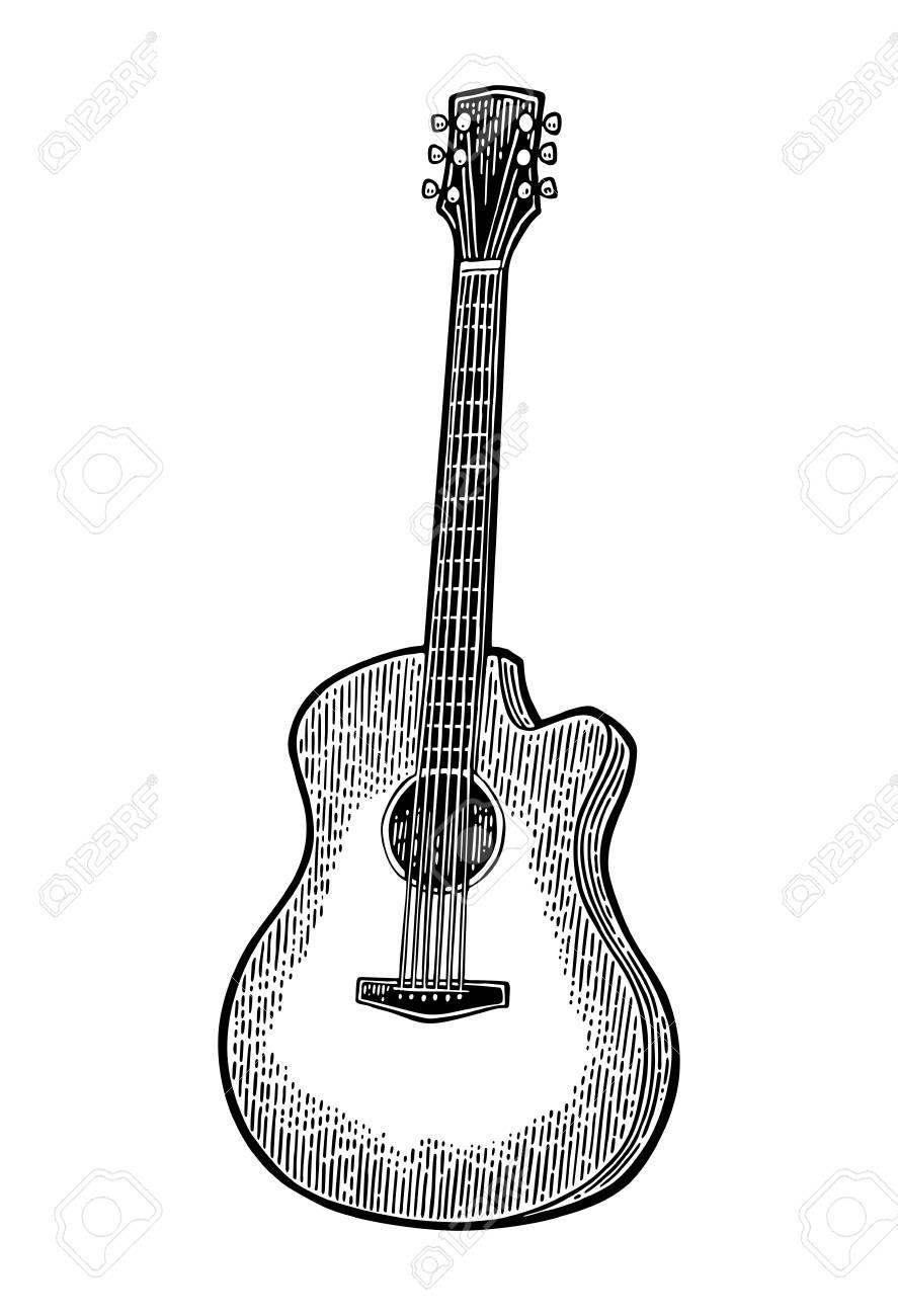 Acoustic Guitar Vintage Vector Black Engraving Illustration Affiliate Vintage Guitar Aco Engraving Illustration Preschool Newsletter Templates Guitar