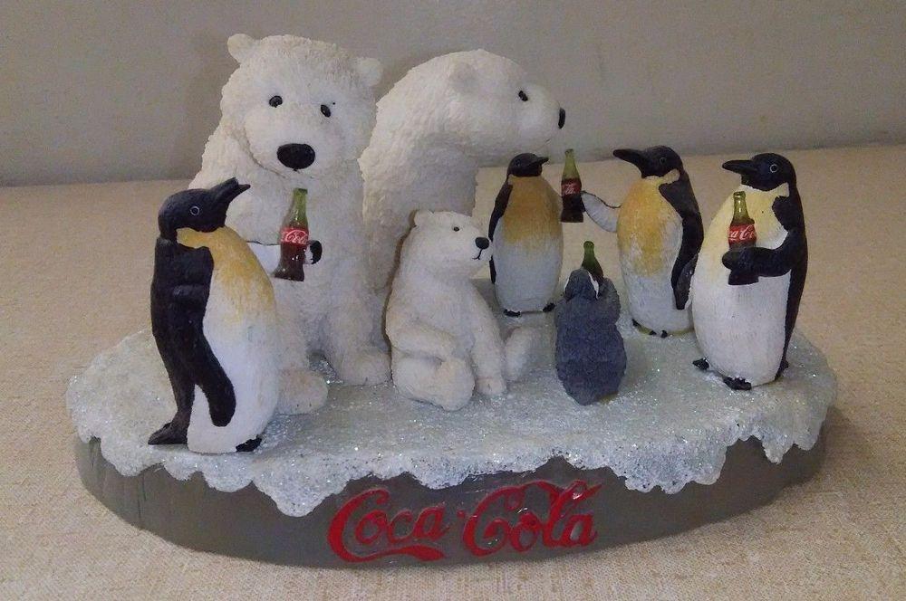 Boyds - Coca Cola Resin - Coca-Cola Polar Bear and Penguin Figurine