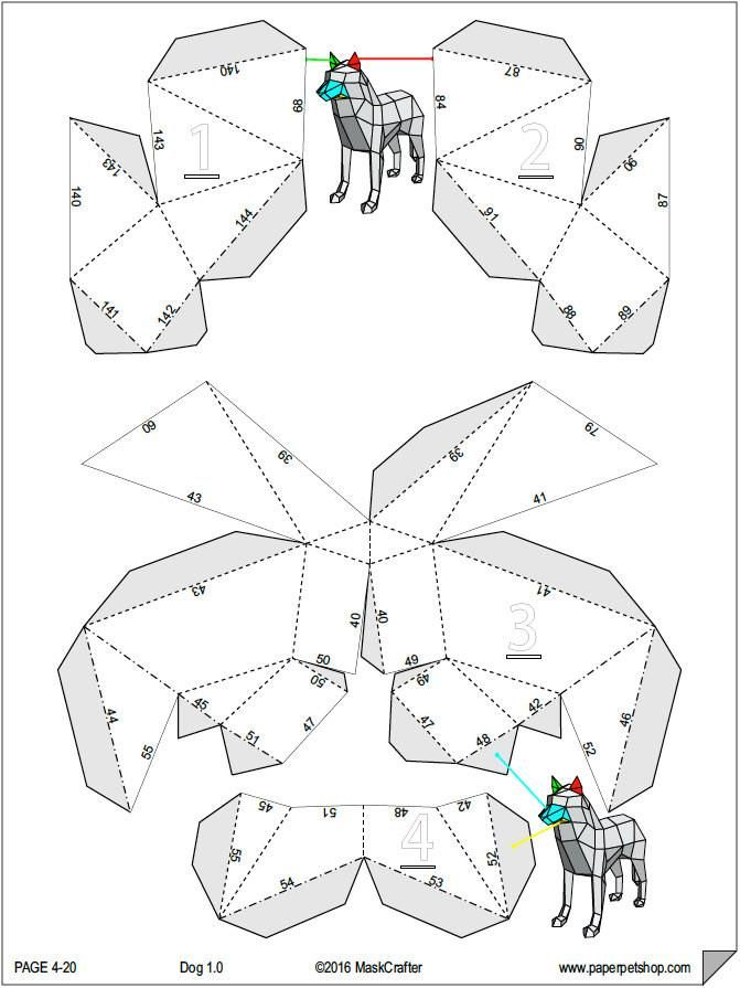 3D Wolf/Dog Papercraft template, Instant Download, Perfect
