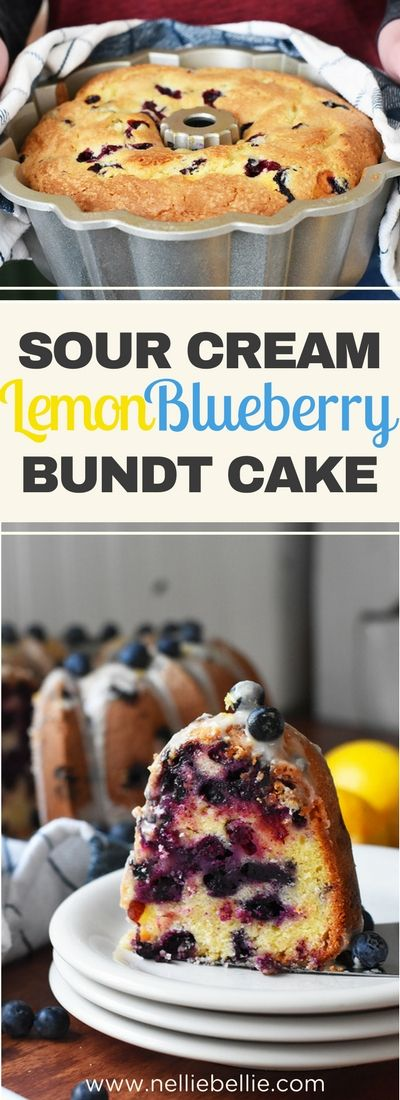 This lemon blueberry bundt cake is an old-fashioned sour cream bundt cake lightened up and brightened up with sweet blueberries and fresh lemon flavor! via @miznelliebellie #sourcream