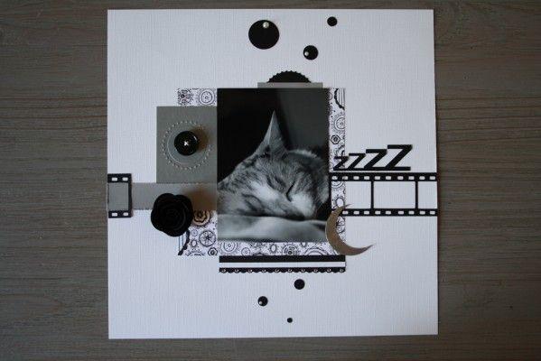 Scrapbooking carte tutoriel photo unique chat noir blanc