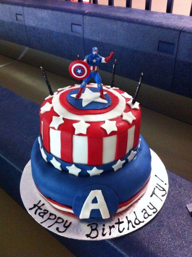 Tremendous 27 Inspiration Picture Of Captain America Birthday Cake Festa Funny Birthday Cards Online Alyptdamsfinfo
