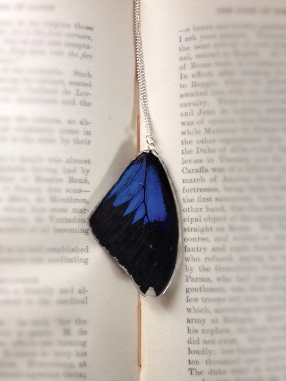 Black and Blue Real Butterfly Necklace Ulysses by Fleurium