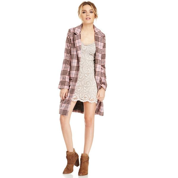 Glamorous Plaid Checked Longline Coat ($59) ❤ liked on Polyvore featuring outerwear, coats, pink, pink slip, longline coat, plaid coat, pink coat and checked coat