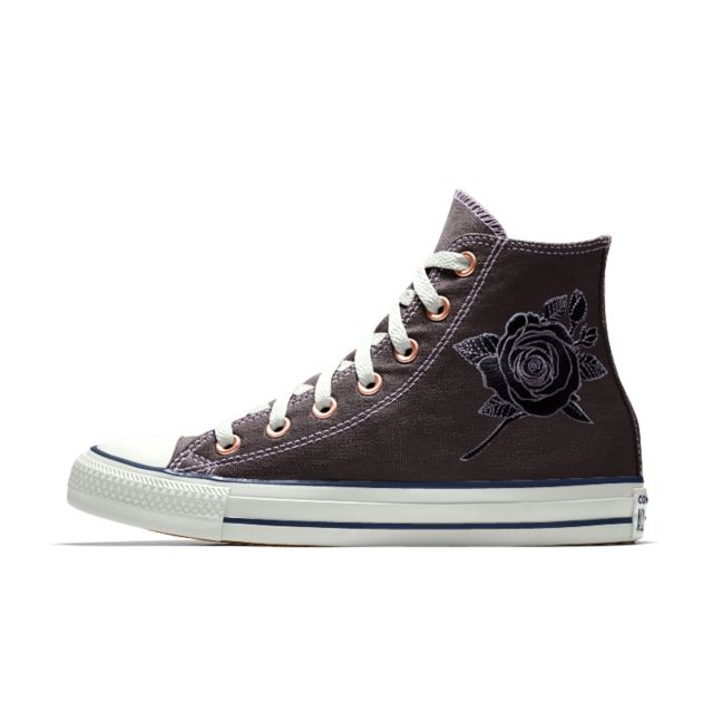 08fabfb13debe Converse Custom Chuck Taylor All Star Rose Embroidery High Top Shoe ...