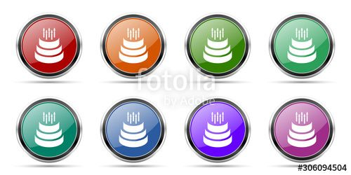 Cake icons, set of round glossy web buttons with silver metallic chrome borders isolated on white background in 8 options , #Sponsored, #web, #buttons, #silver, #glossy, #Cake #Ad