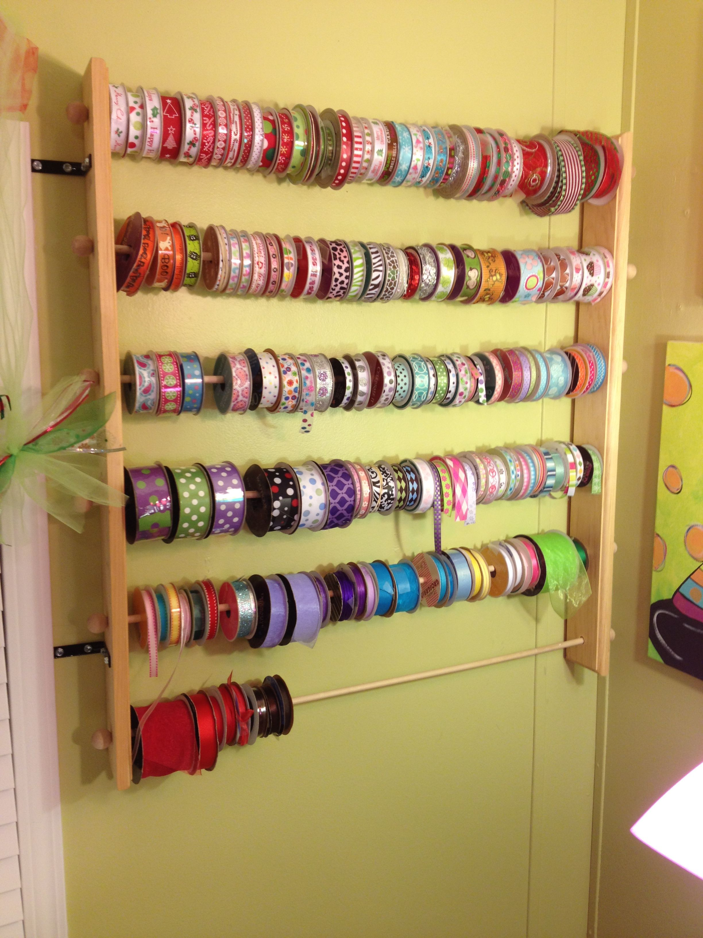 Dowel Rods Wooden Shelves From Hobby Lobby Great Ribbon Storage