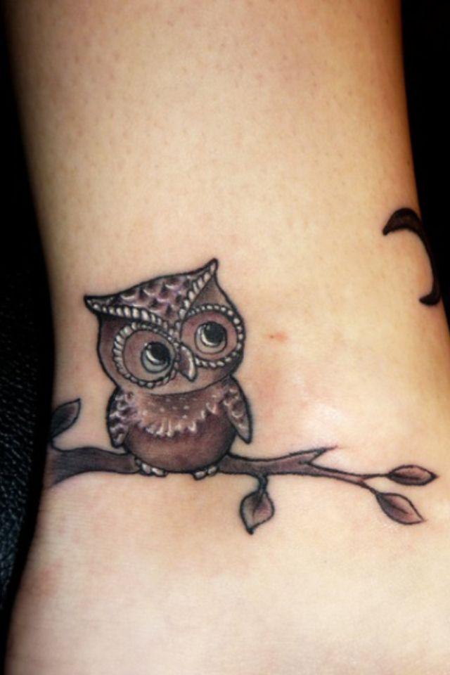 Owl Crescent Moon Ankle Tatt Baby Owl Tattoos Cute Owl Tattoo Cute Tattoos For Women