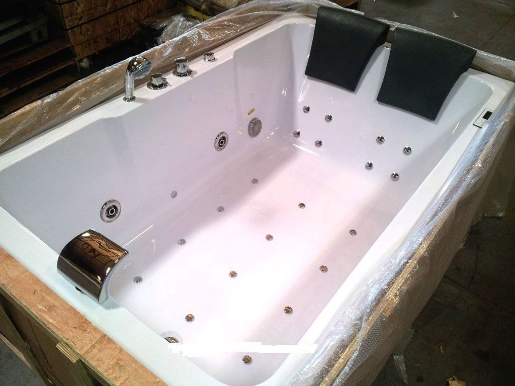 2 Two Person Indoor Whirlpool Massage Hydrotherapy White Bathtub ...