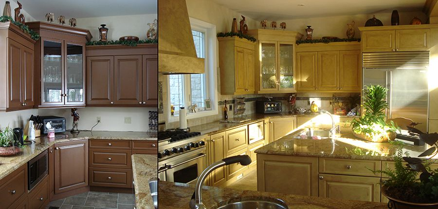 Beautiful kitchen cabinets refinshed in a crackle/glaze ...