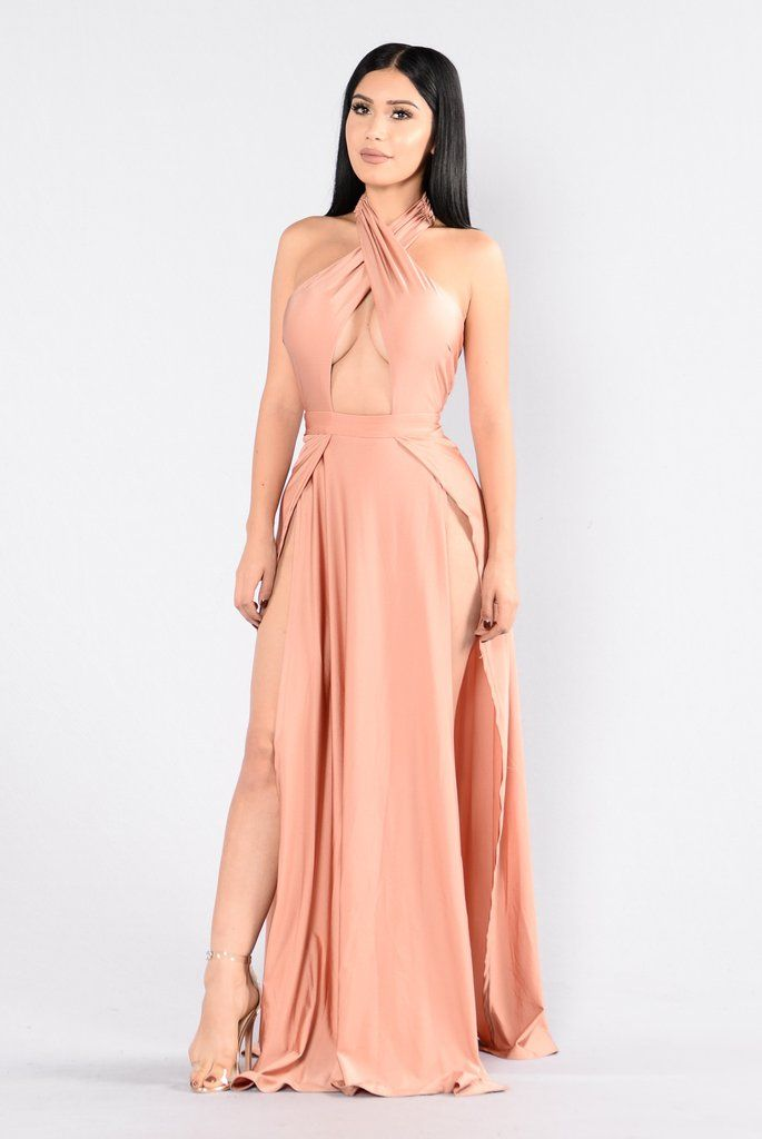 477de189dd2 Available in Black and Rust - Halter Maxi Dress - Deep V Neckline - 2 Front  Slits - Lined - Wrap Bust - 92% Polyester 8% Spandex