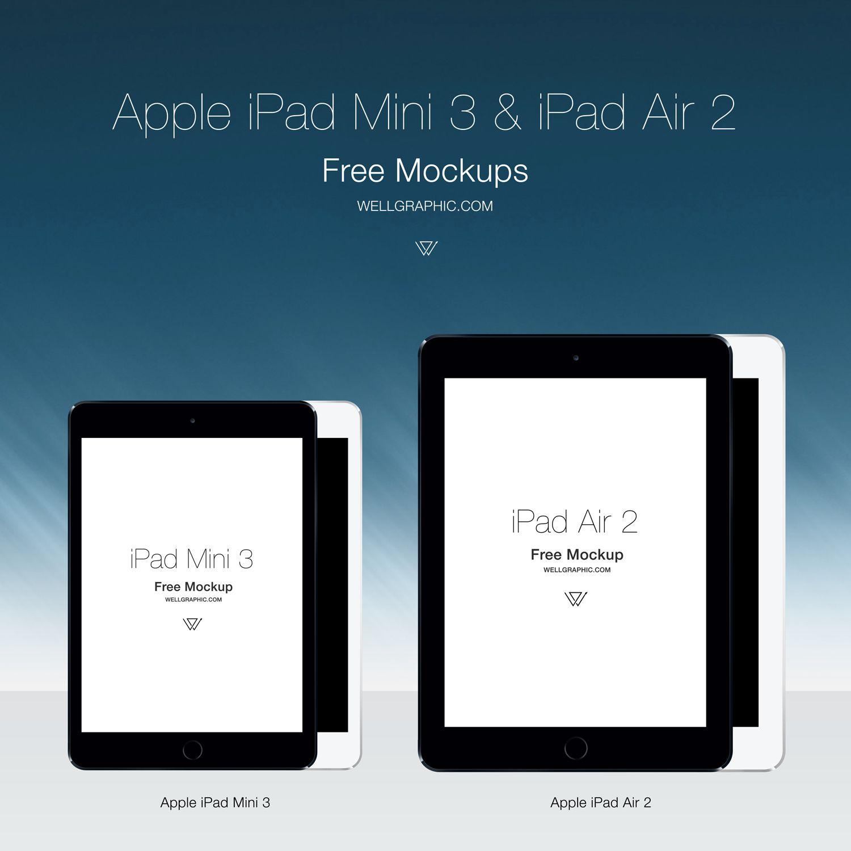 Apple iPad Mini 3 -Apple iPad Air 2 Mockup PSD