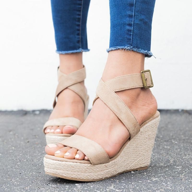 Shop Sandal leleyaja Sandal Adjustable Buckle Apricot Peep