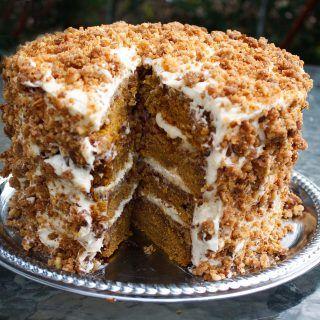 Great Pumpkin Crunch Cake with Cream Cheese Frosti