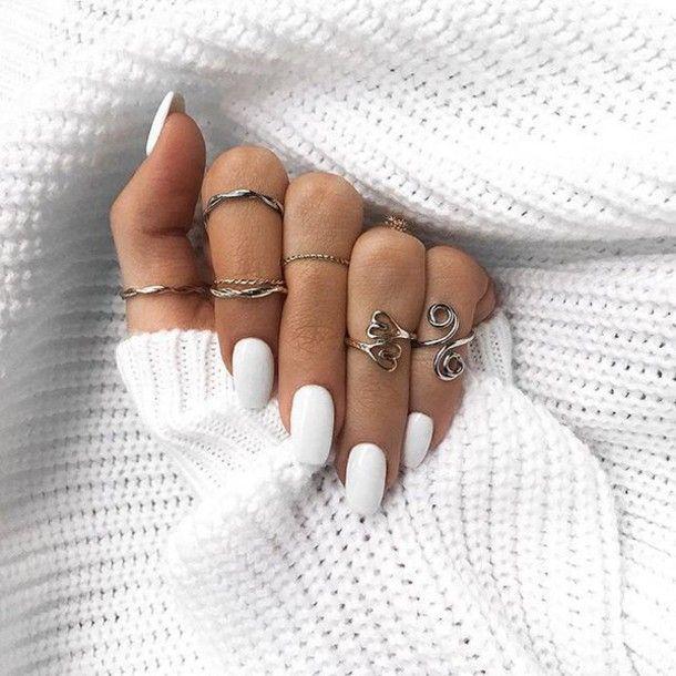 Esmalte de uñas: Tumblr White Nails Anillo de tobillo Anillo Anillo de plata Joyería Ju …