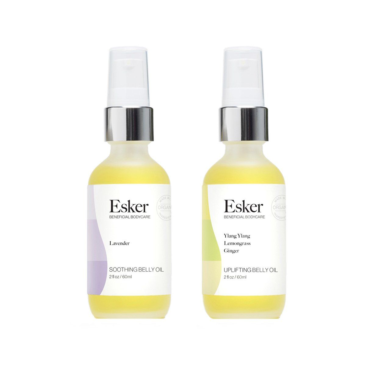 The Belly Oil Duo from Esker is the perfect body care gift for mamas-to-be. This pair of clean, nontoxic and organic botanical oils are created specifically for pre and postpartum skin. These gently scented, non-greasy oils help moisturize and fade stretch marks, as well as prevent new ones from forming. Uplifting Belly Oil is perfect to use in the morning or for an afternoon pick-me-up while Soothing Belly Oil with lavender works beautifully to relax body and mind before bed. | Esker Belly Oil