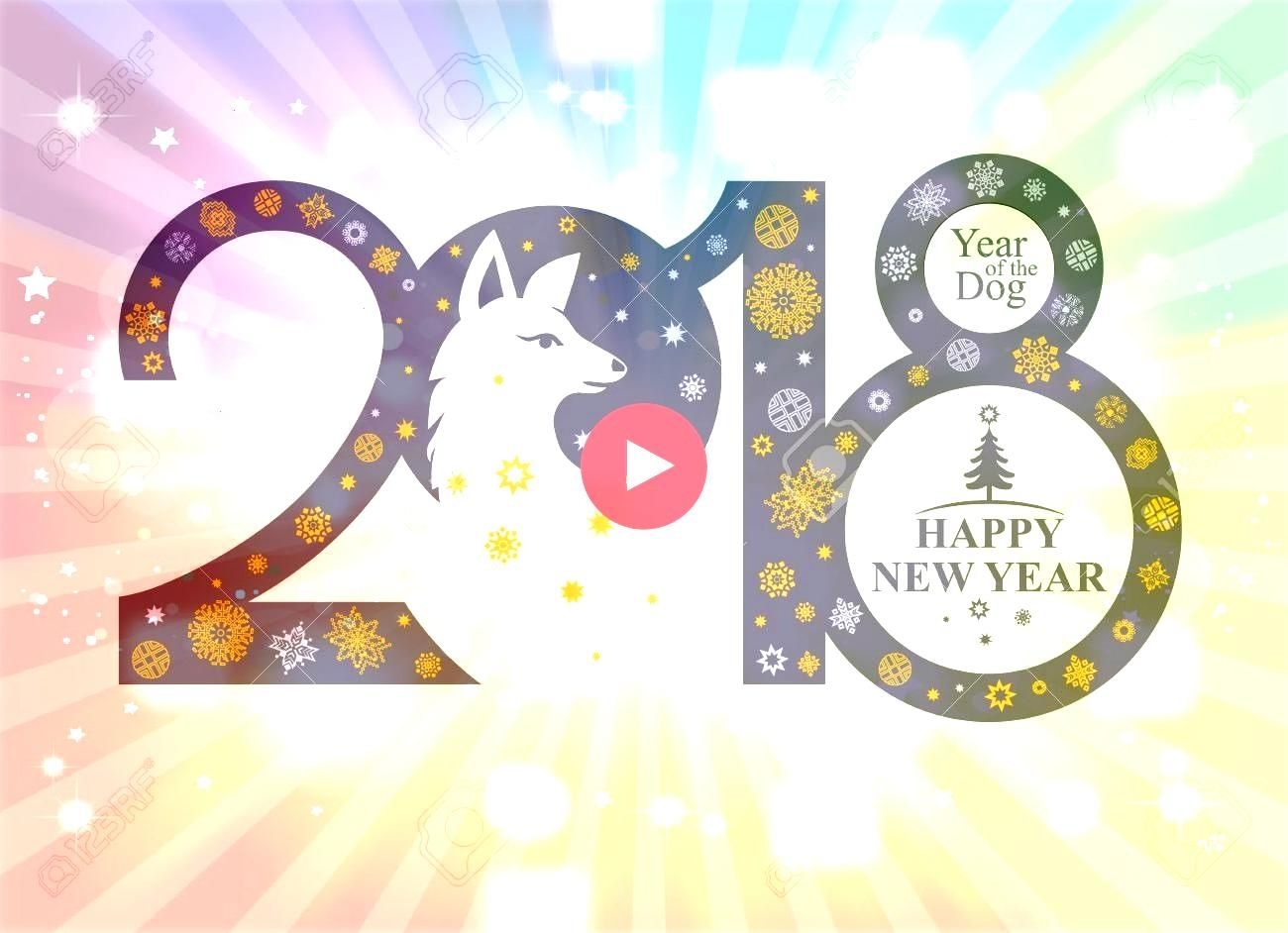 Year 2018 Vector template with snowflakes and a head of a cute dog Decorative element for festive banner design background New Year 2018 Vector template with snowflakes a...