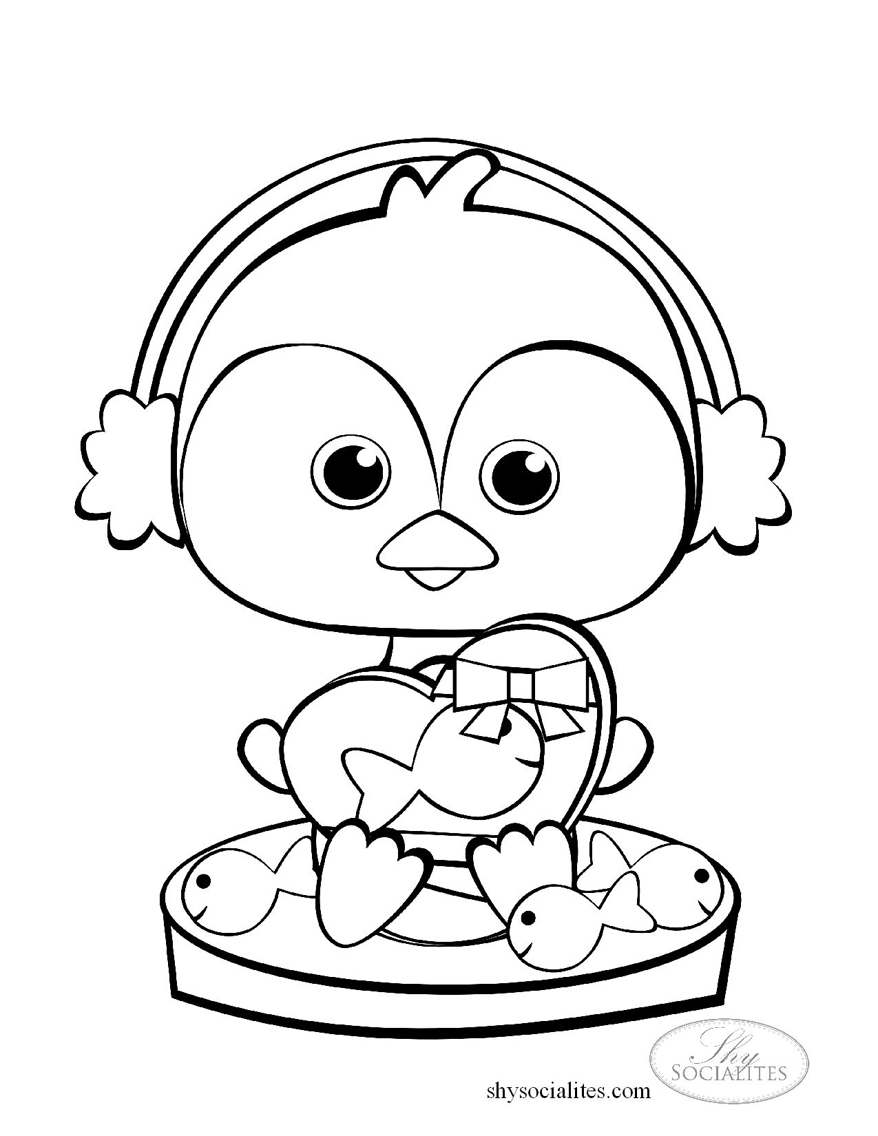 A Cute Little Penguin To Color With A Valentine Gift Of Chocolate Fish Penguin Coloring Penguin Coloring Pages Coloring Pages