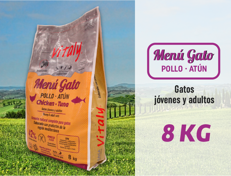 Pienso Natural Para Gato Menú Gato 8 Kg Vitaly Carne De Pollo Natural Gatos