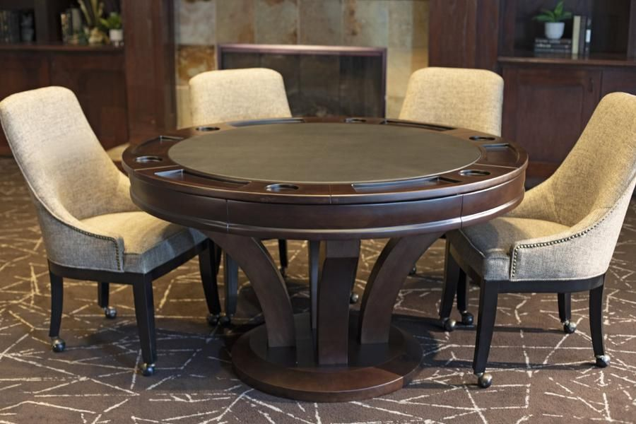 52 8 Player Oak Poker Table Game Table And Chairs Hillsdale Furniture Furniture