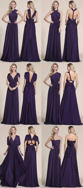 d9adc62b43c7 Convertible Elegant Purple Evening Dress Bridesmaid Dress (07154706 ...