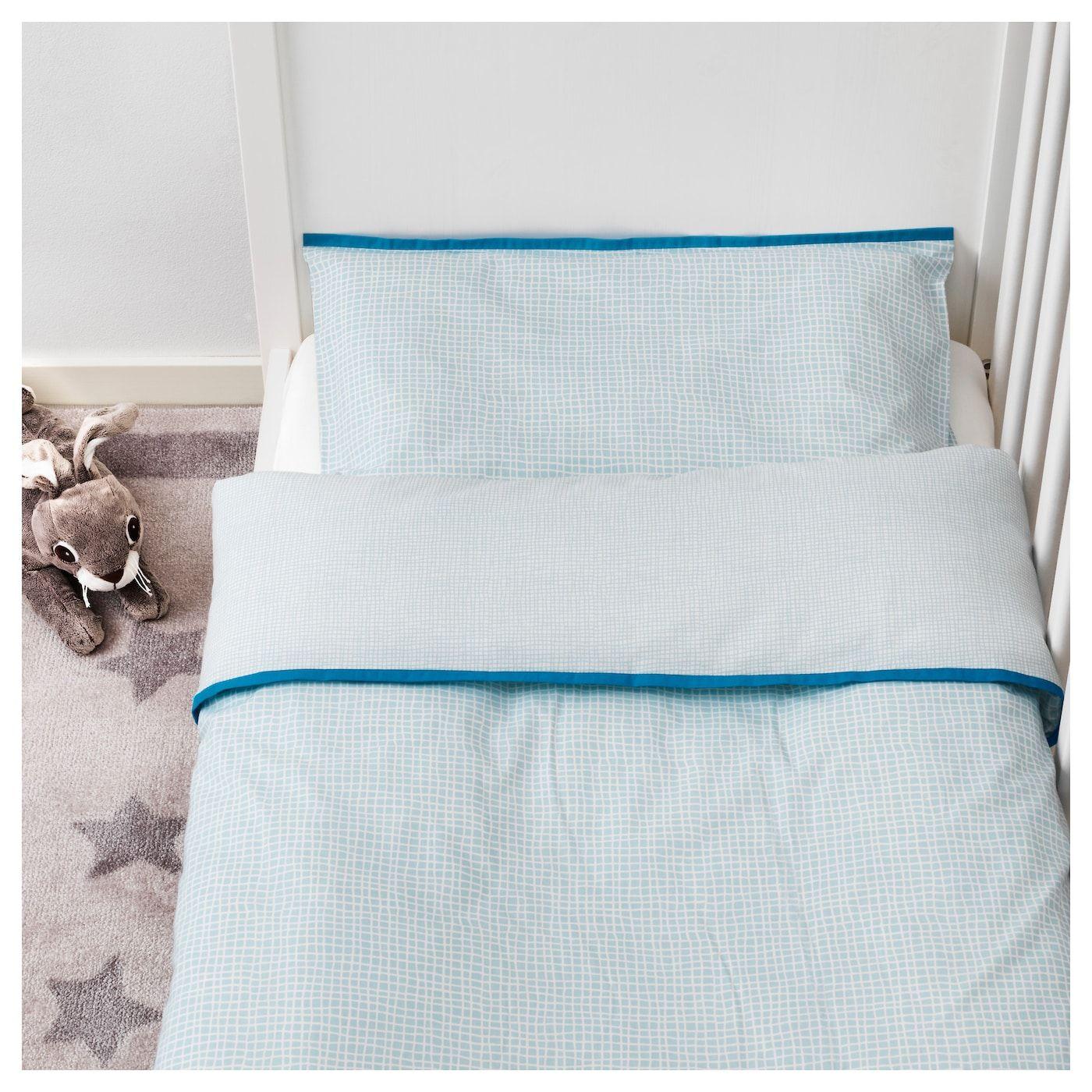 Ikea Klammig Crib Duvet Cover Pillowcase Turquoise Pillow