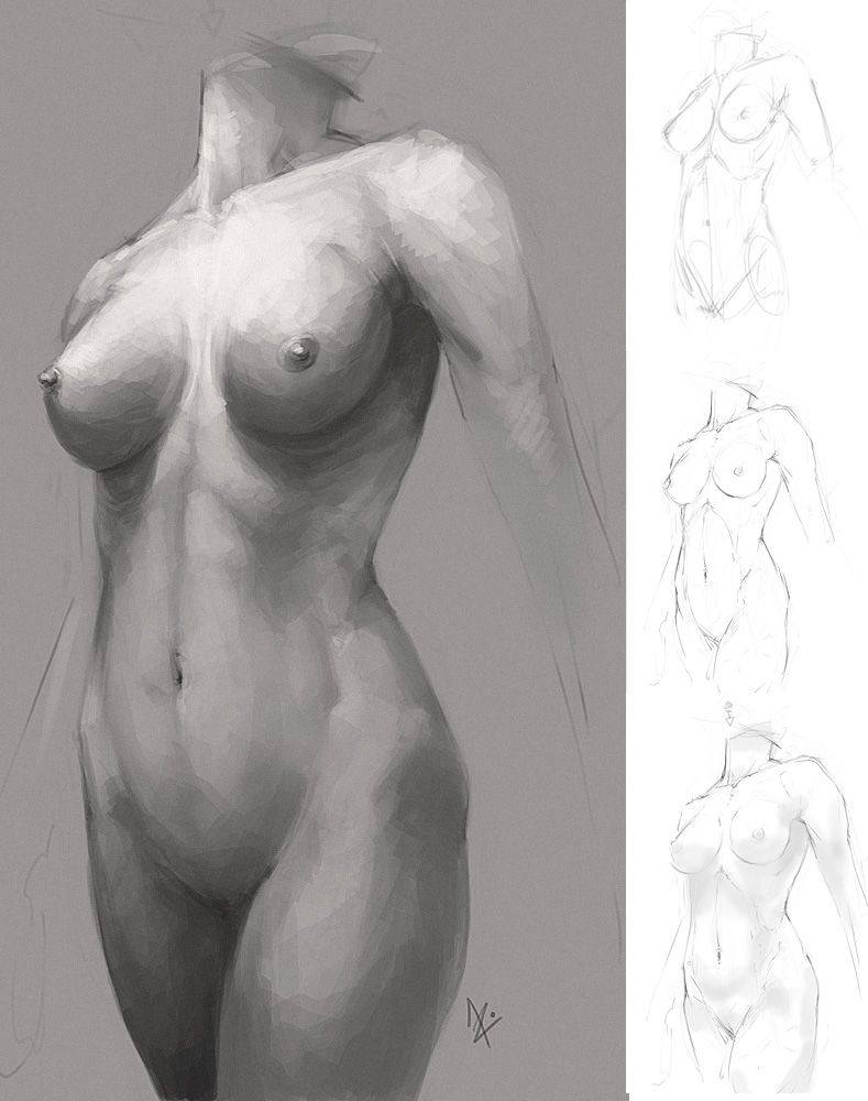 Draw female nude pencil sculpture sketch statue