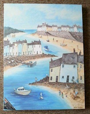 Beach Art print seaside fishing village.Print only unframed signed original.
