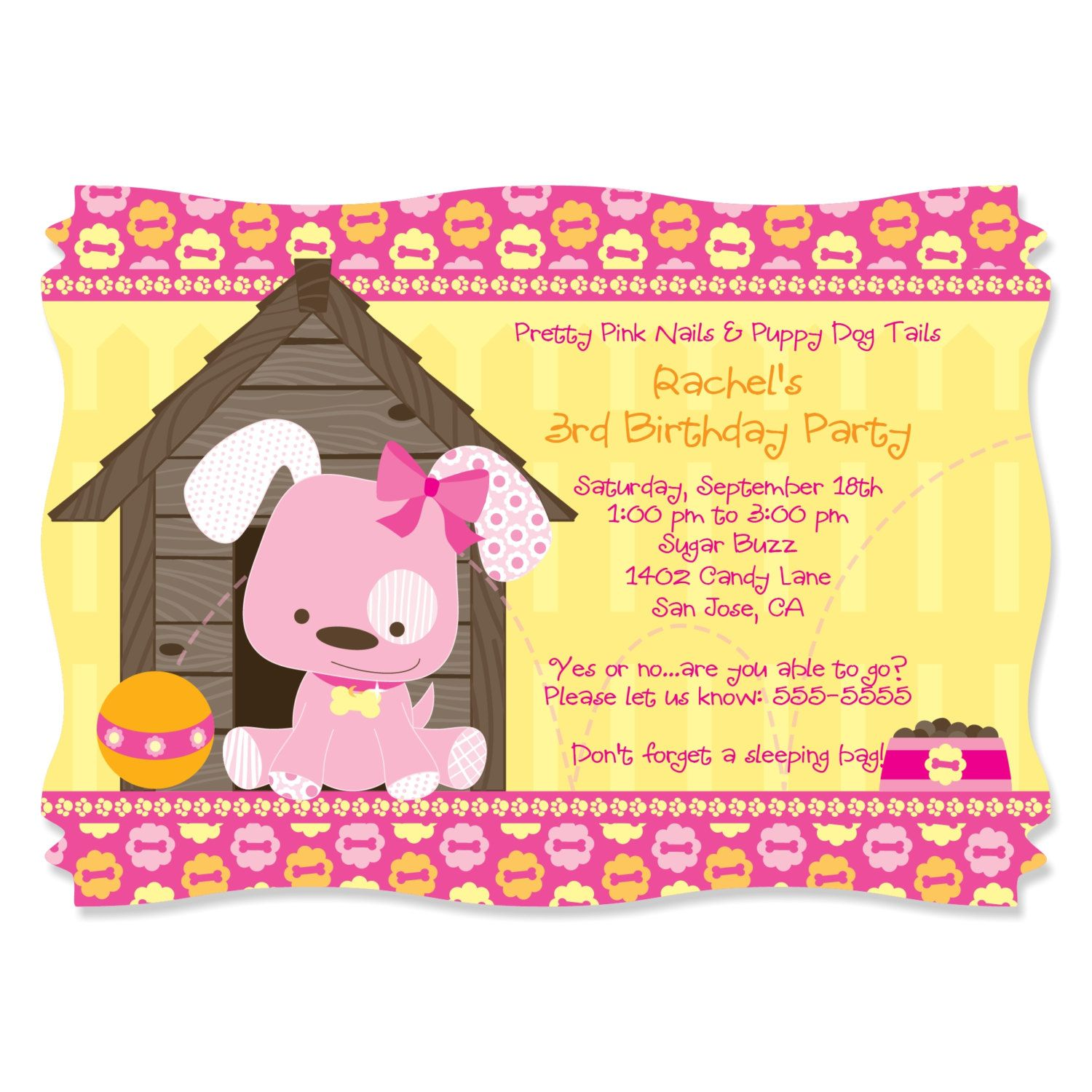 Pink Girl Puppy Dog Party Invitations - Printed Birthday Party ...