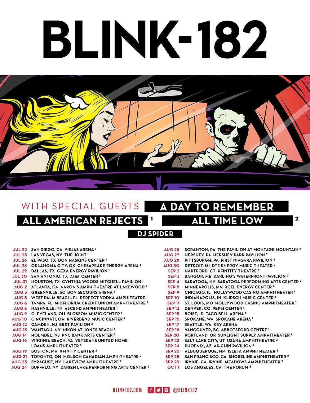 GoRockfest.Com: Blink 182 Tour Dates 2016 | Blink-182 in 2018 ...