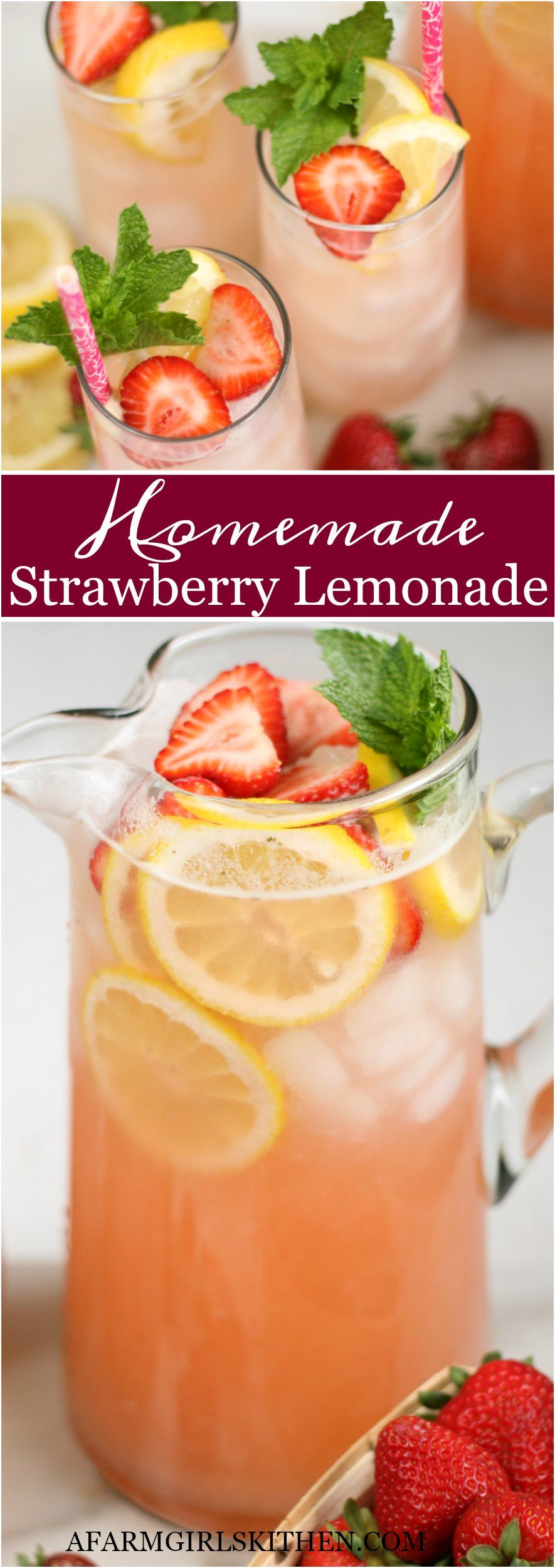 Homemade Strawberry Lemonade (EASY to make with SIMPLE ingredients!)