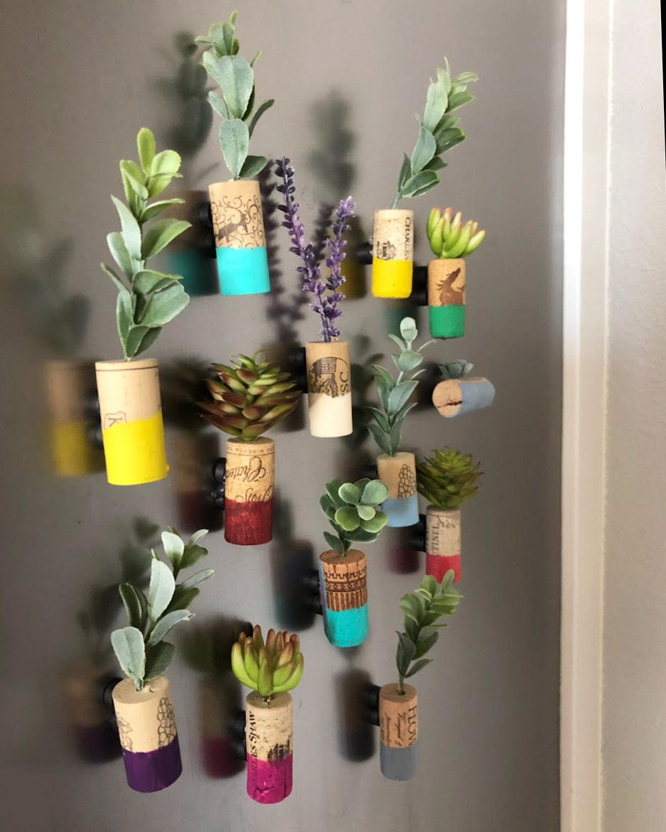 10 Faux Succulent Wine Cork Planters With Magnets Custom and Handcrafted.