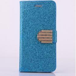 Photo of Deluxe Glitzer Leder Flipcase Blau für Ihr iPhone 7/8 Plus