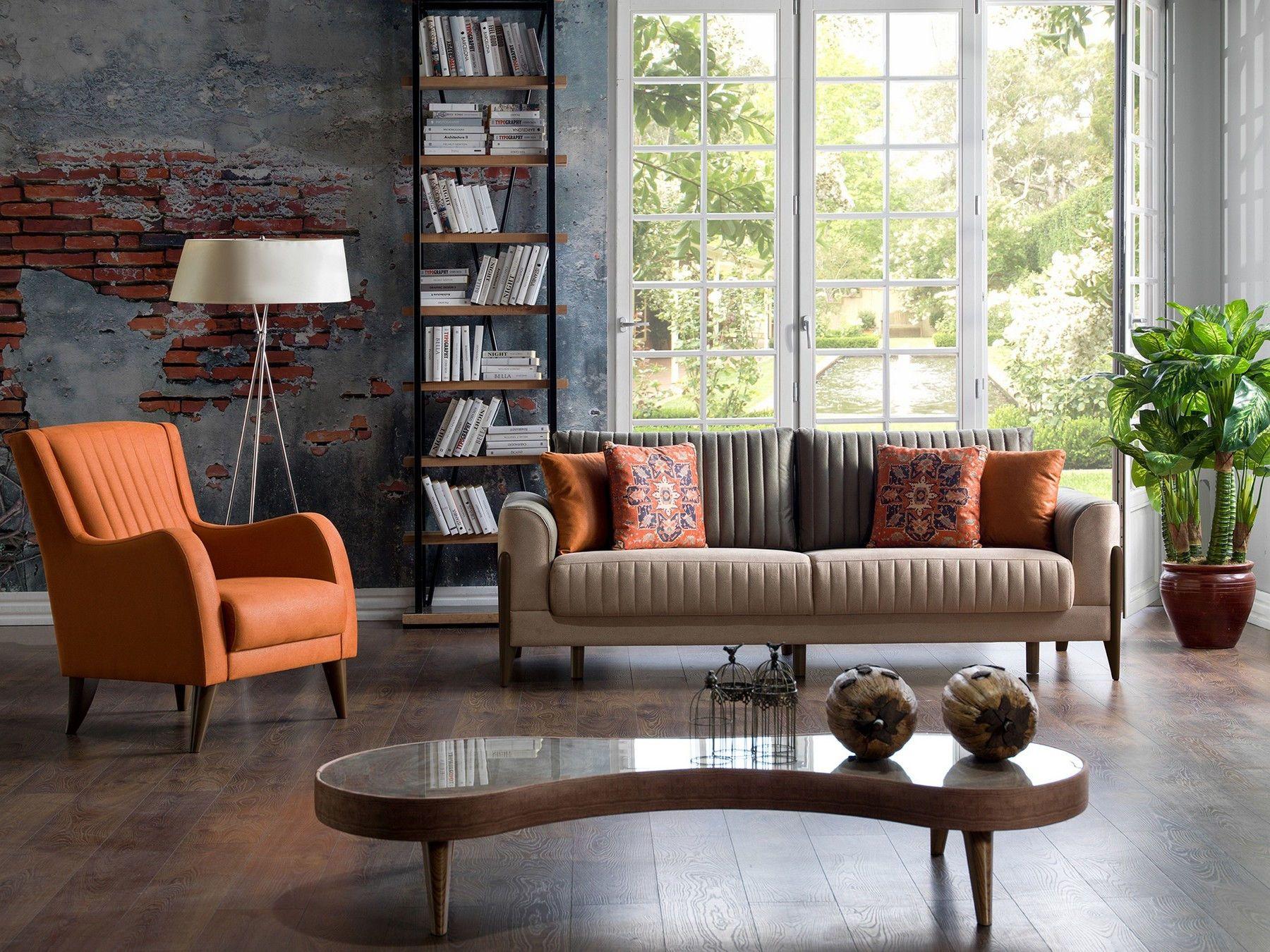 Istikbal Piero Contemporary Upholstery Brown Orange Sofa Living Room Sofa Orange Sofa Furniture #orange #sofa #in #living #room