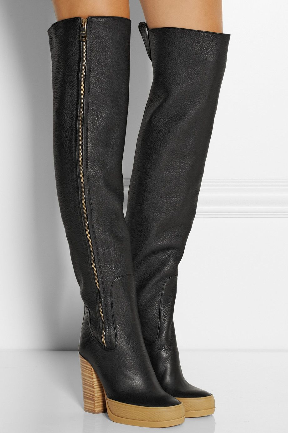 Chloé|Textured-leather over-the-knee boots|NET-A-PORTER.COM