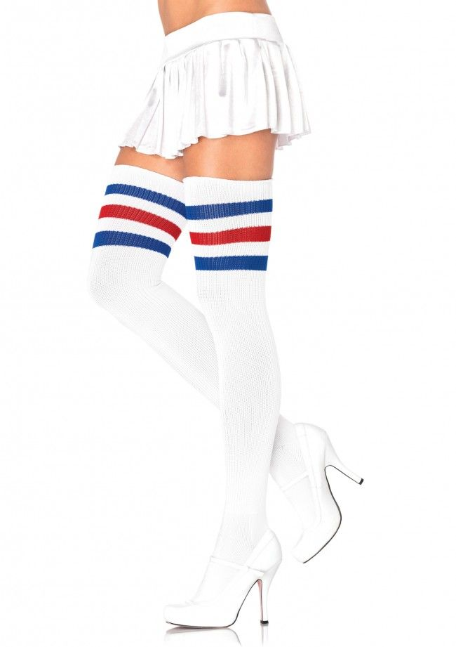 e6f580078 Thigh high socks in white with Blue and Red stripes on top