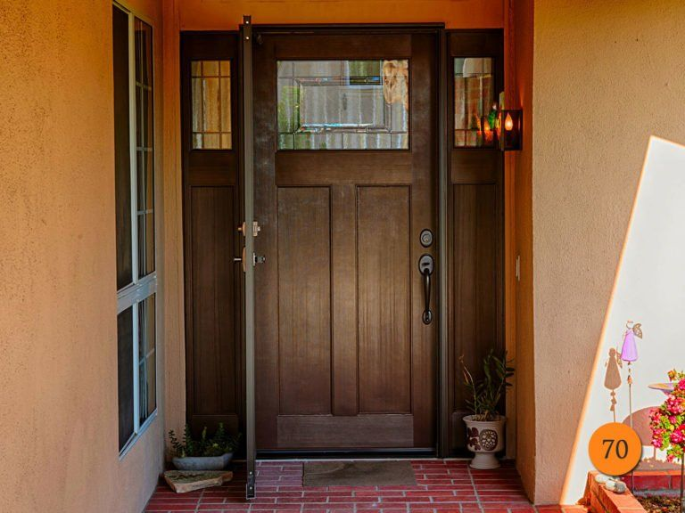 Craftsman Single 36x80 Fiberglass Entry Door With 2 Sidelights In 5 Foot Wide Entrance Plastpro Drf3c Fiberglass Entry Doors Craftsman Front Doors Entry Doors