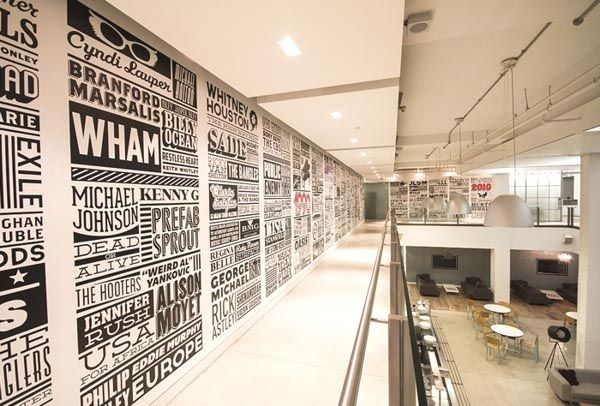 feature wall with typography sony music timeline wall design in sonys derry street headquarter cbs 514 3rd floor pinterest timeline