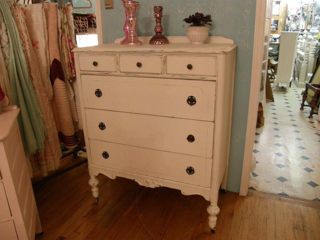 Antique Shabby Chic Dresser White Distressed Tall Sooo Pretty 550 00 Via Etsy