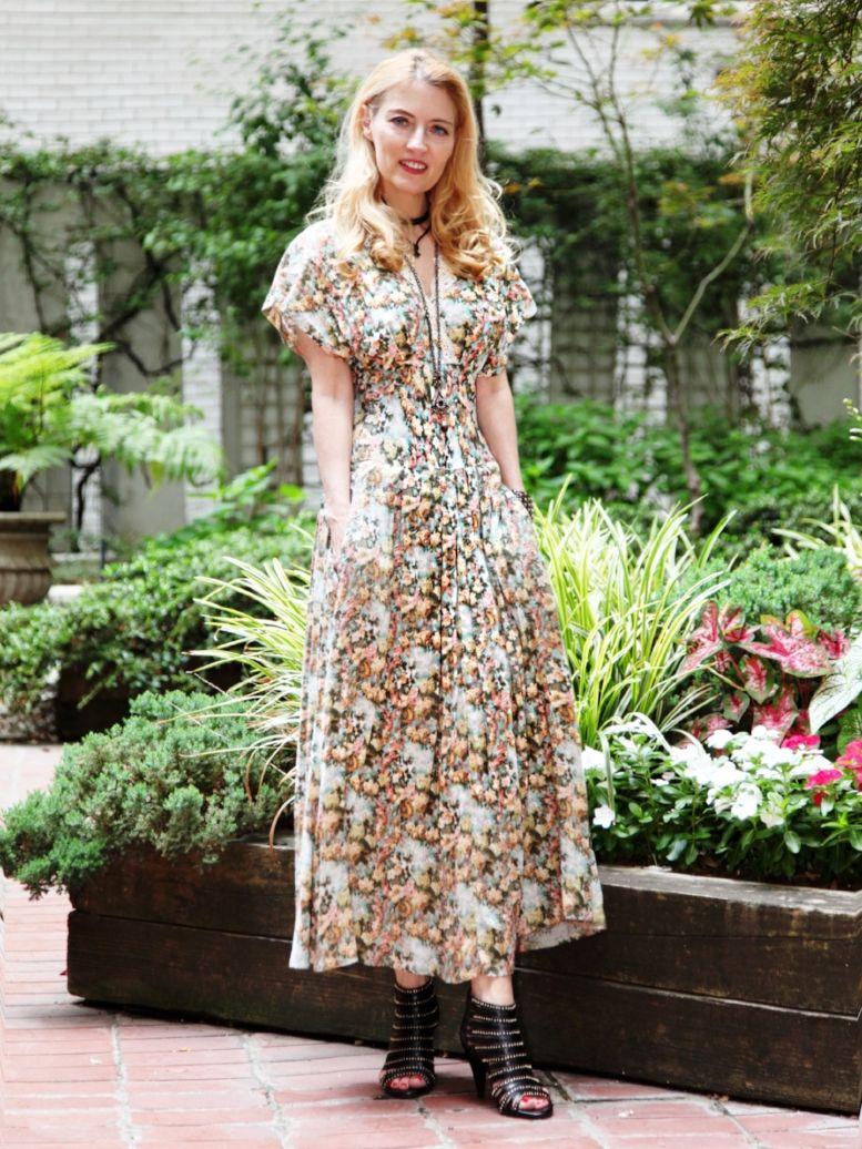 Long Floral Printed Dress with Black Heels- The Elle Diaries