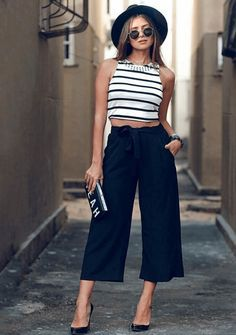 Pantalon Ancho A La Altura Del Tobillo O Mas Corto De Seda Pantalones De Moda Ropa Moda