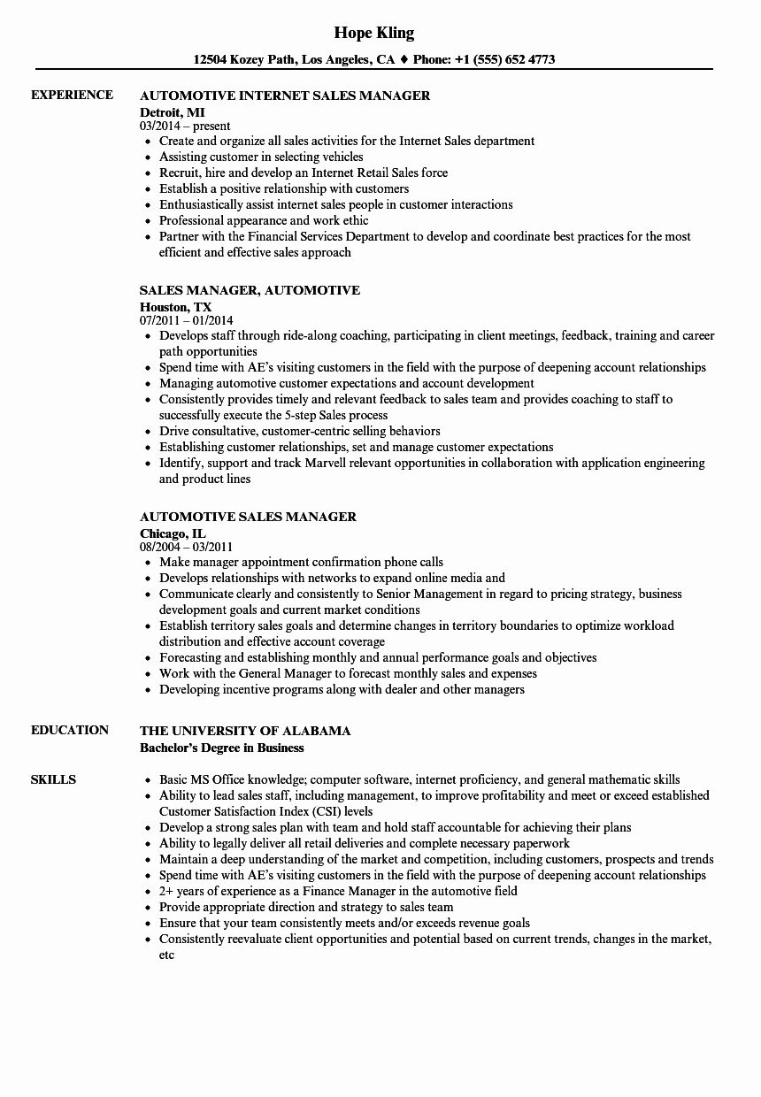 Lovely automotive sales manager resume samples sales