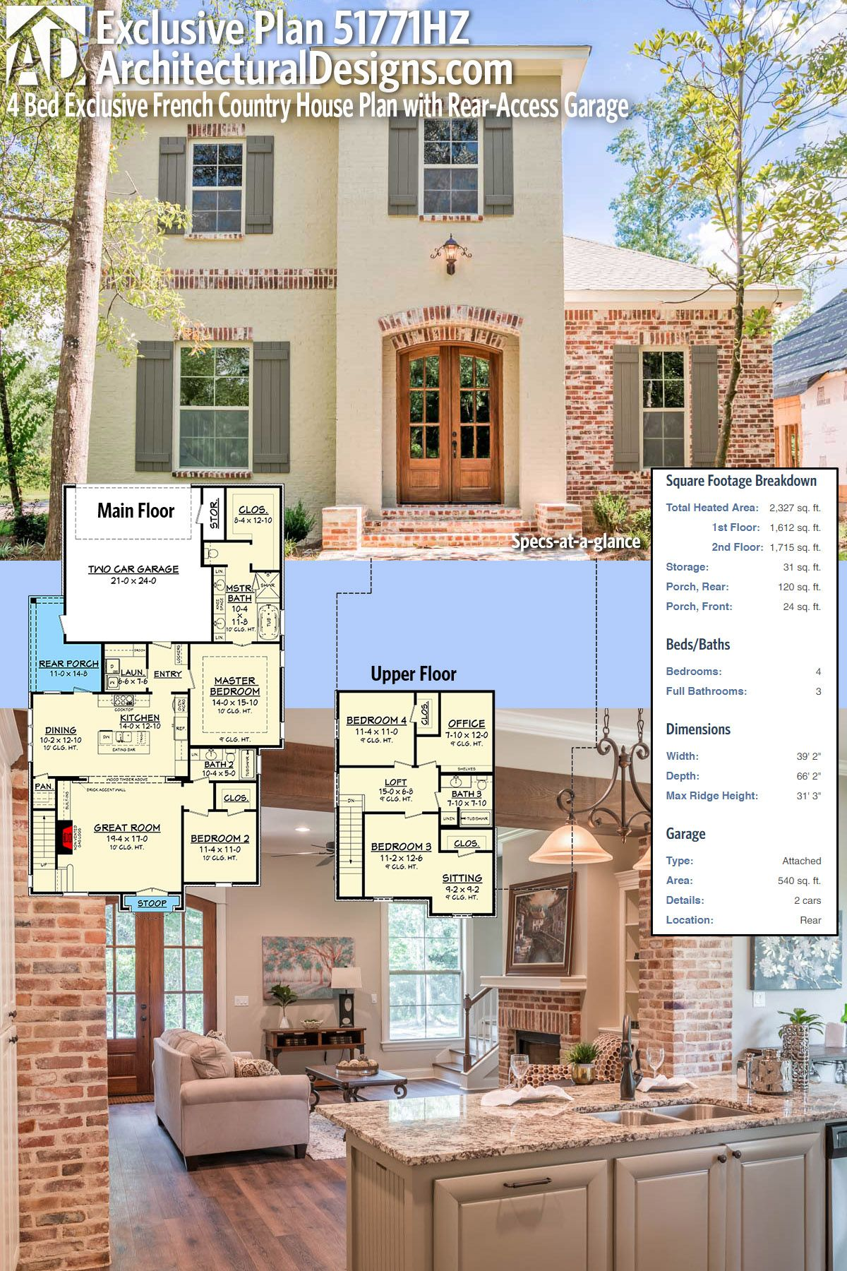 Plan 51771HZ 4 Bed Exclusive French Country