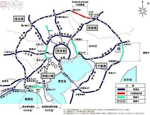 圏央道の境古河IC~つくば中央IC間28.5kmが、2017年2月26日に開通し、東名高速、中央道、関越道、東北道、常磐道、東関東道の放射6高速と接続します。都心を避けた迂回は有効に機能するのでしょうか。