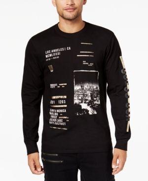 GUESS Mens LA Metallic Graphic T-Shirt
