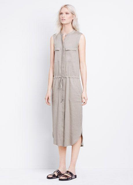 Sleeveless Stretch Linen Cargo Drawstring Maxi Dress | Vince ...
