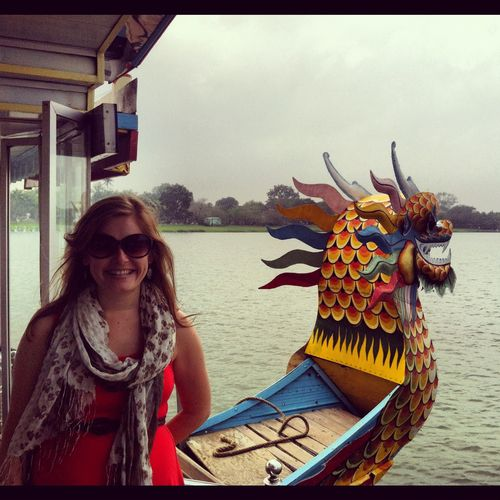 On a dragon boat going to see a pagoda in Hue.