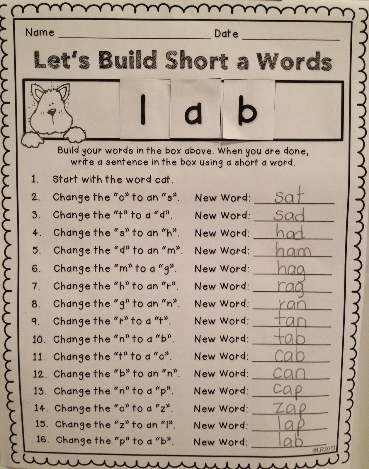Teaching With Love And Laughter Word Building Activity
