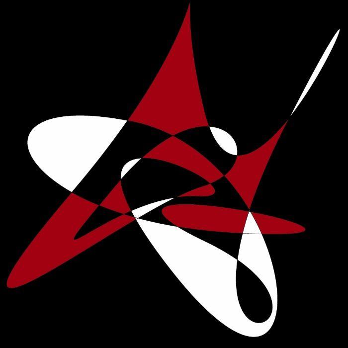 Retro MidCentury Modern Atomic Splash graphic design in bold black, white and red.