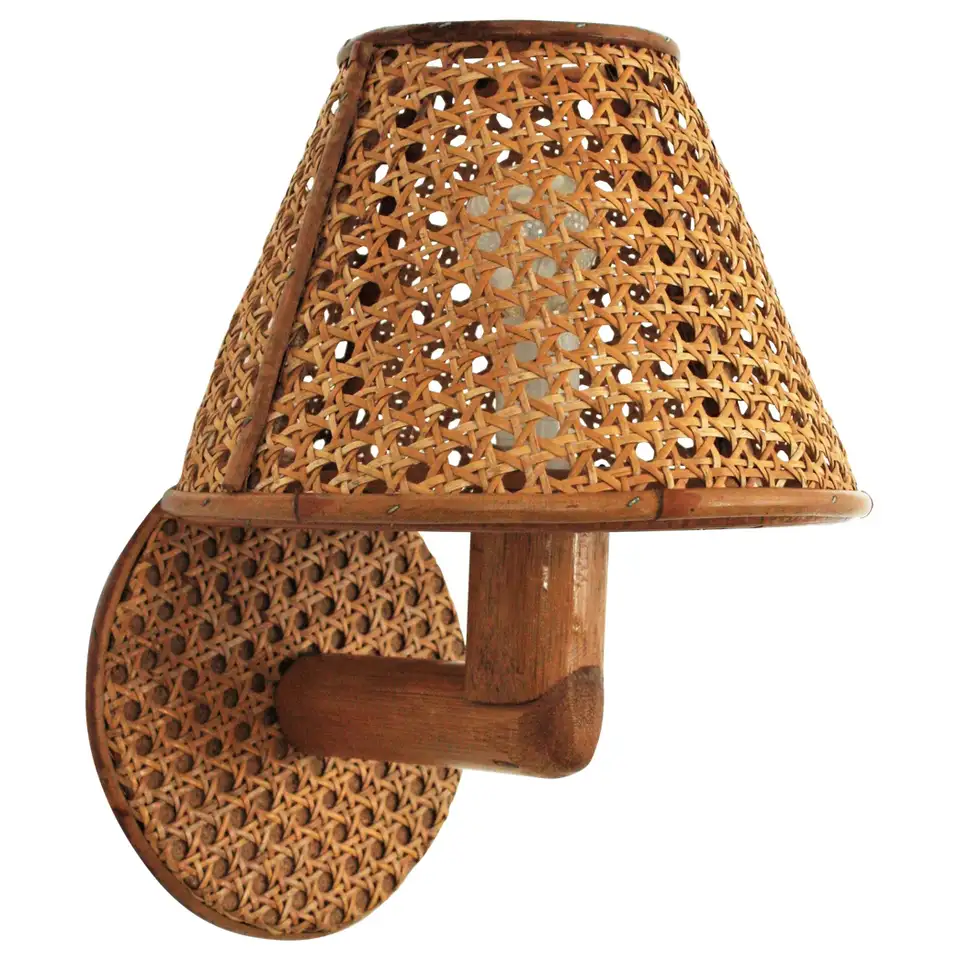 Italian Modern Woven Wicker Weave And Bamboo Wall Light With Shade In 2020 Bamboo Wall Wall Lights Wall Light Shades